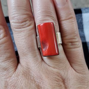Red coral 925 ring